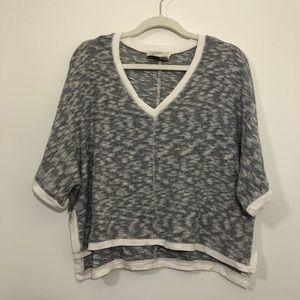 Saturday Sunday gray & white short sleeve sweater